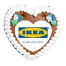 Lebkuchenherz mit Papieraufleger in Herzform- 16x15 cm